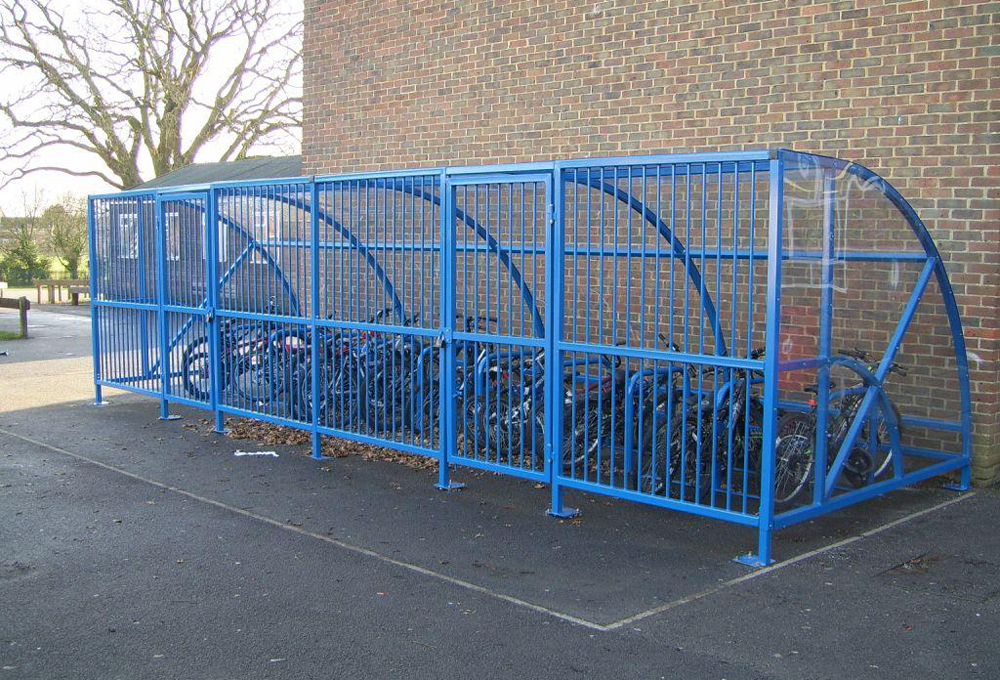 Cycle shelter semi enclosed at Little Heath School - CENTAUR CL