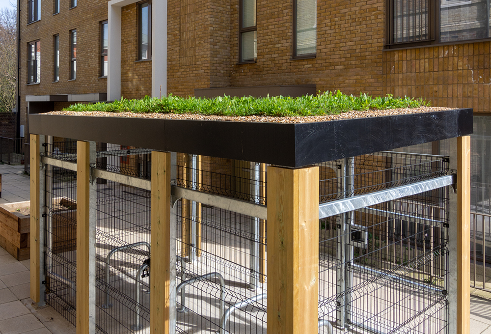 Green Roof Cycle Store at St Clement's Hospital