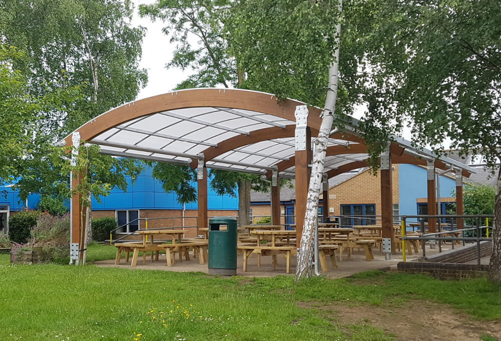 Timber canopy at The Marlborough C of E School
