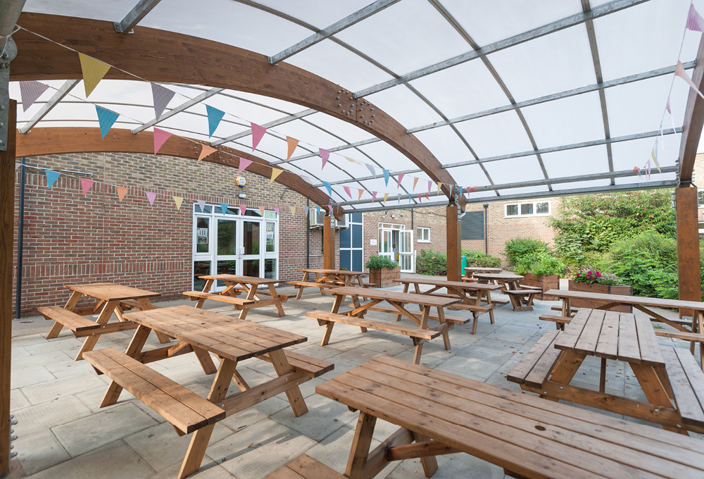 Timber dining canopy at Gumley House Convent School