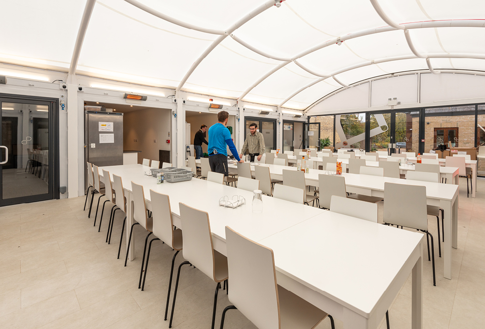 Fabric roof enclosed canopy at Cambridge Design Partnership