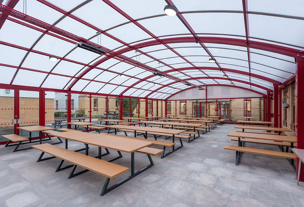 Polycarbonate roof enclosed canopy at The John Wallis C of E Academy