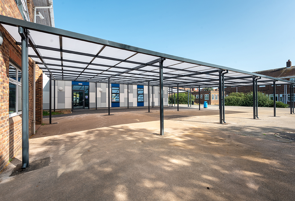 Monopitch polycarbonate canopy at Hove Park School