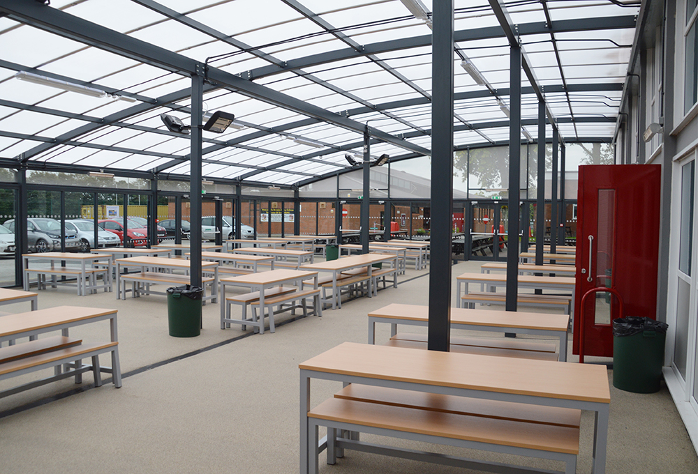 Polycarbonate roof enclosed canopy at St John Rigby College