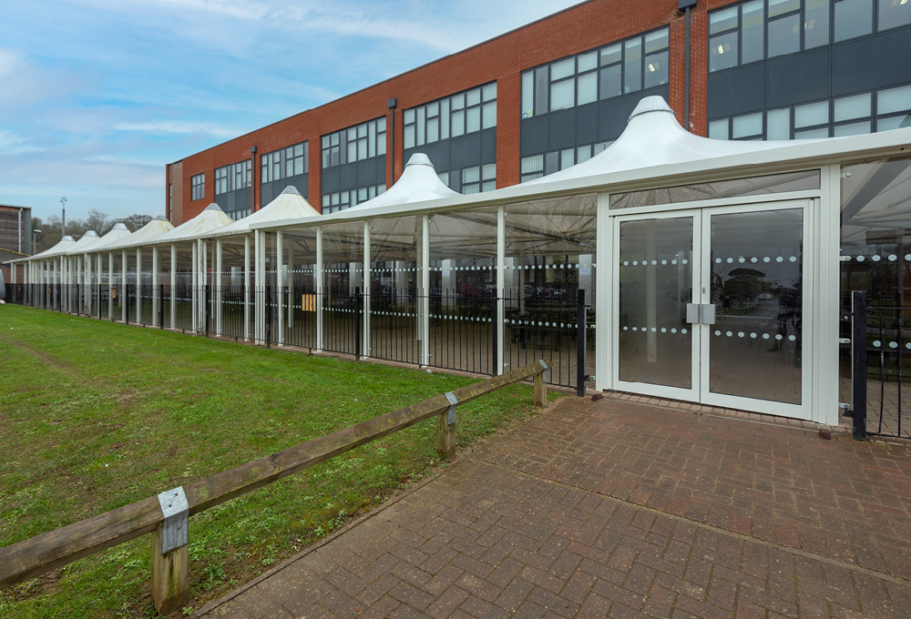 Fabric roof enclosed canopy at Midhurst Rother College