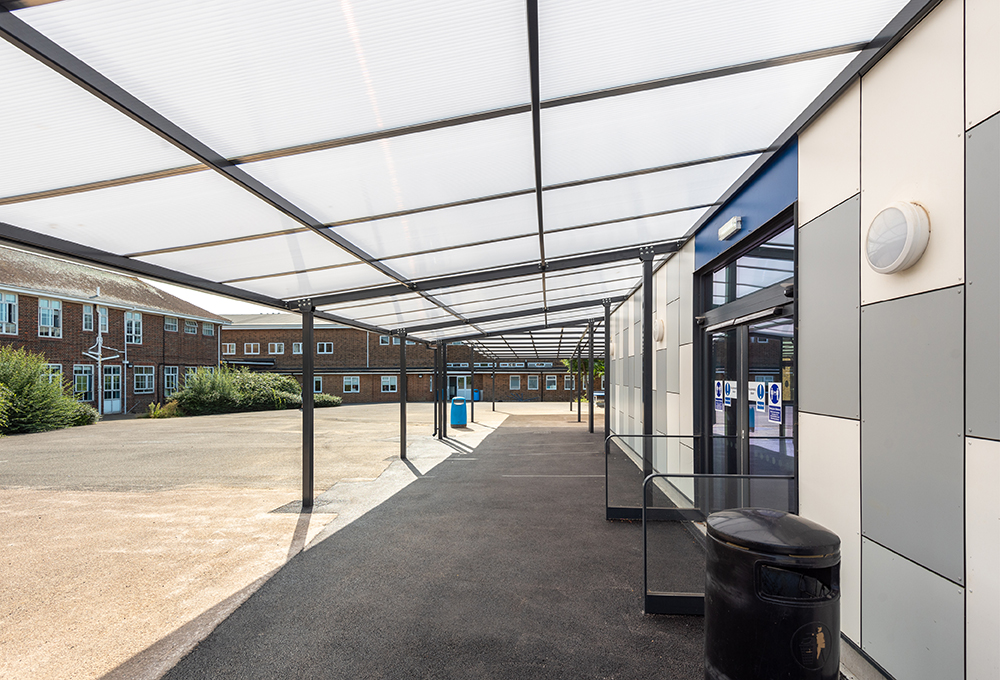 Monopitch polycarbonate canopy at Hove Park School variant