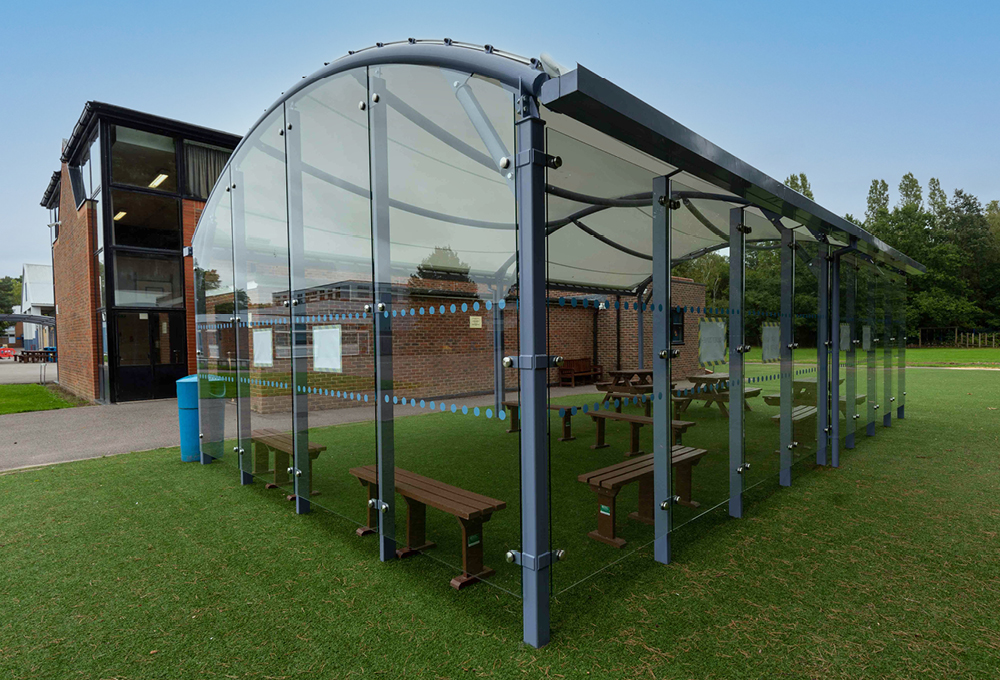 Fabric roof enclosed canopy at The Wavell School