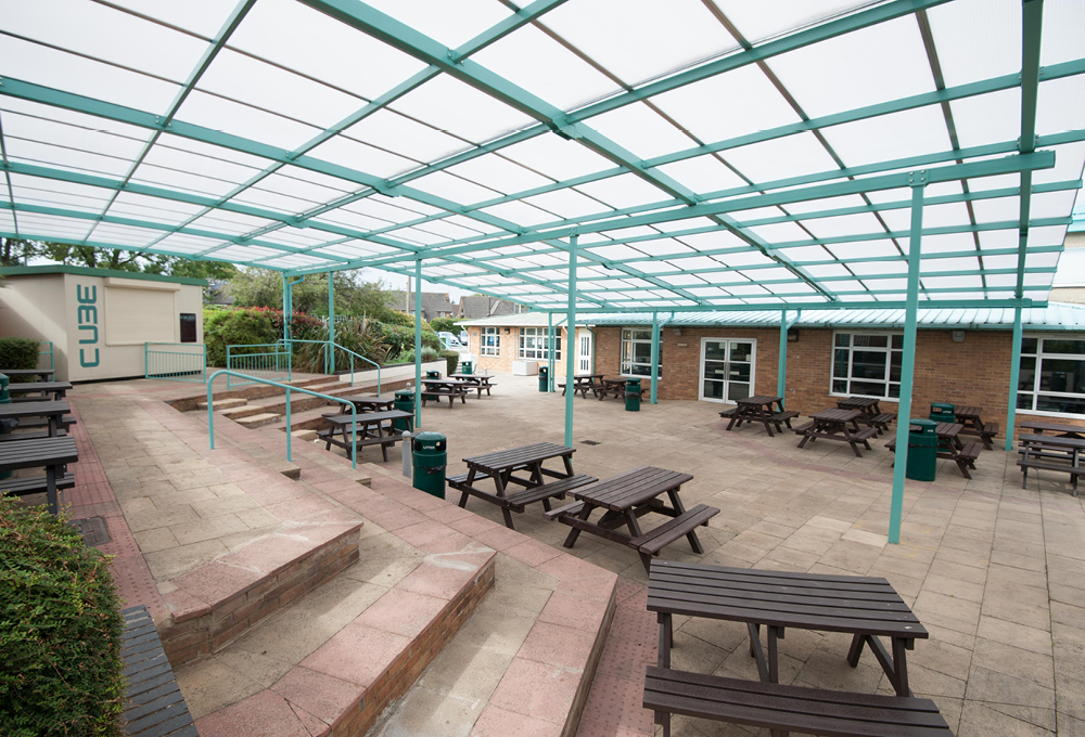 Asymmetric polycarbonate canopy at The Compton School