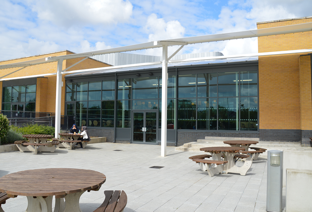 Polycarbonate roof enclosed canopy at Luton Sixth Form College