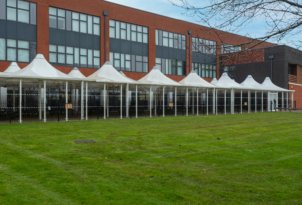 Conic fabric roof enclosed canopy at Midhurst Rother College