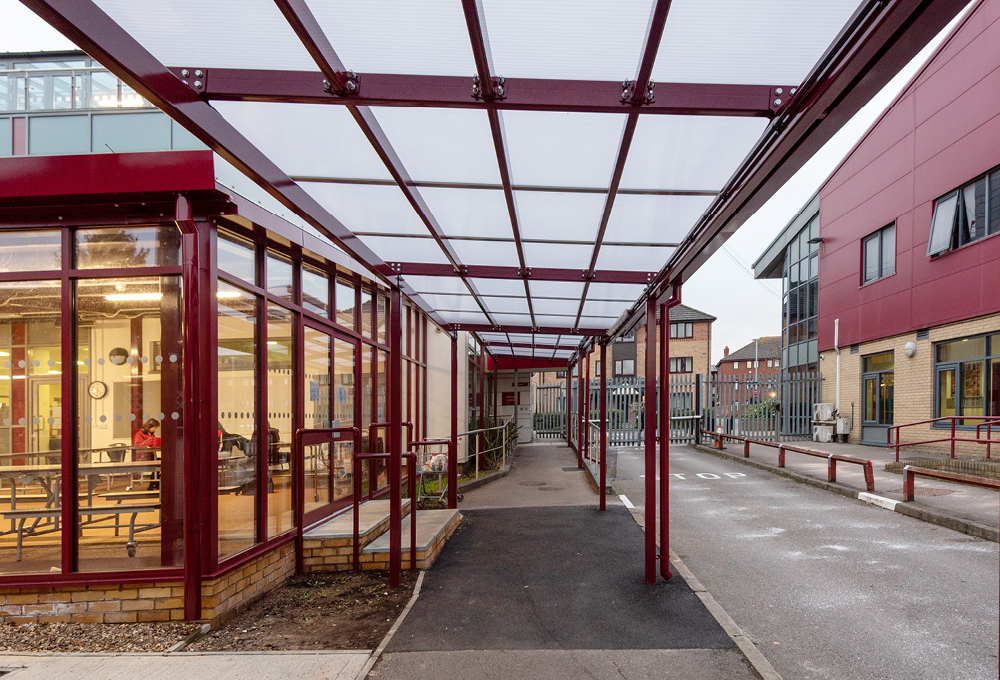 Monopitch polycarbonate canopy at Kendrick School