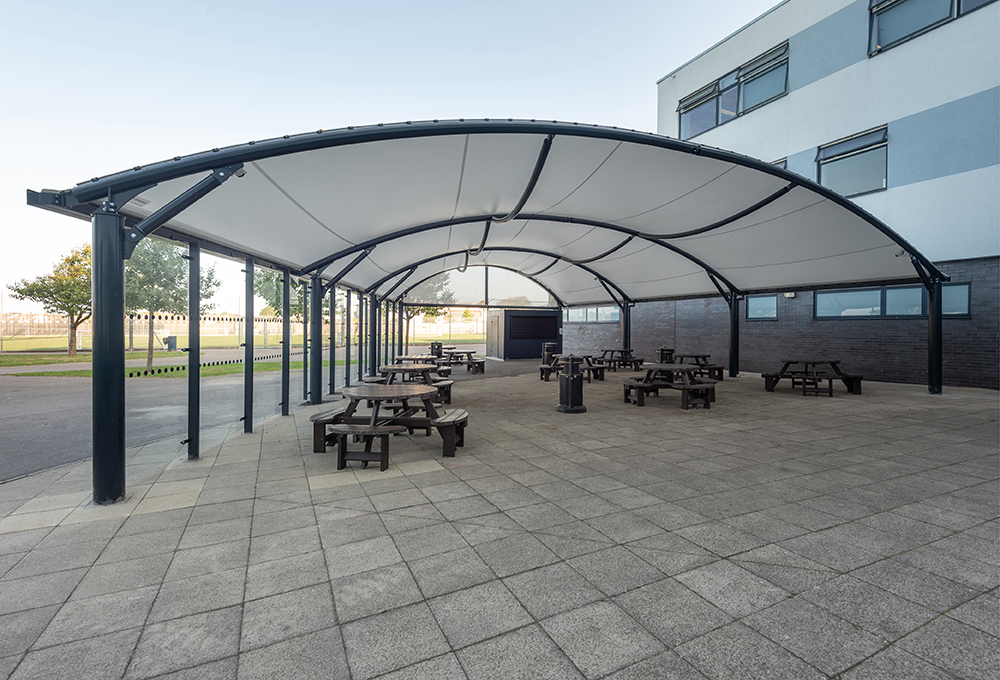 Fabric roof enclosed canopy at The Regis School