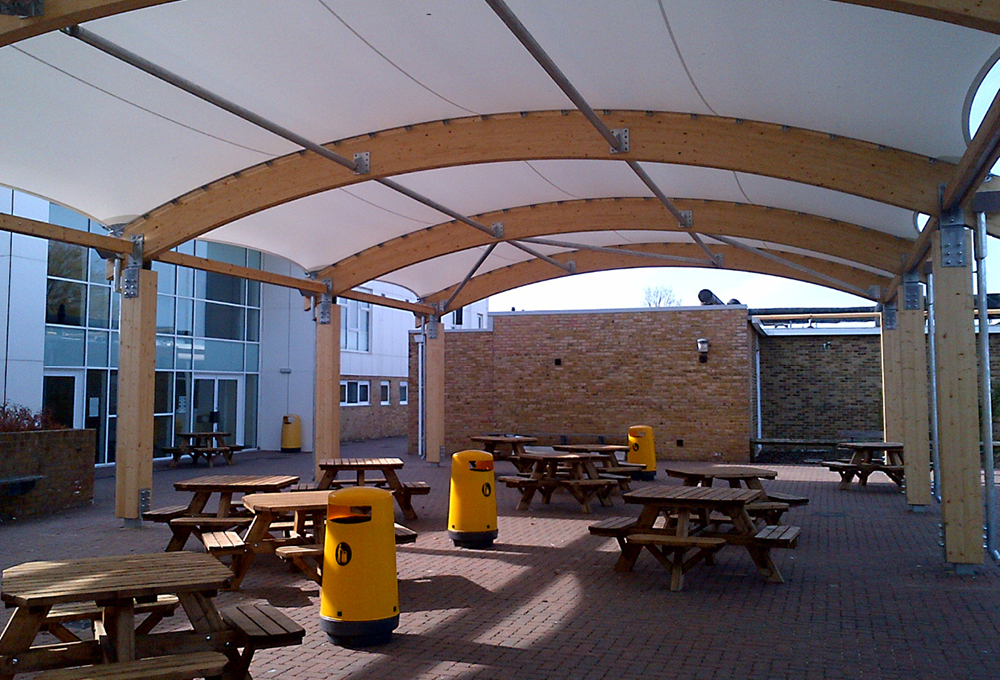 Timber dining canopy at Herne Bay High School