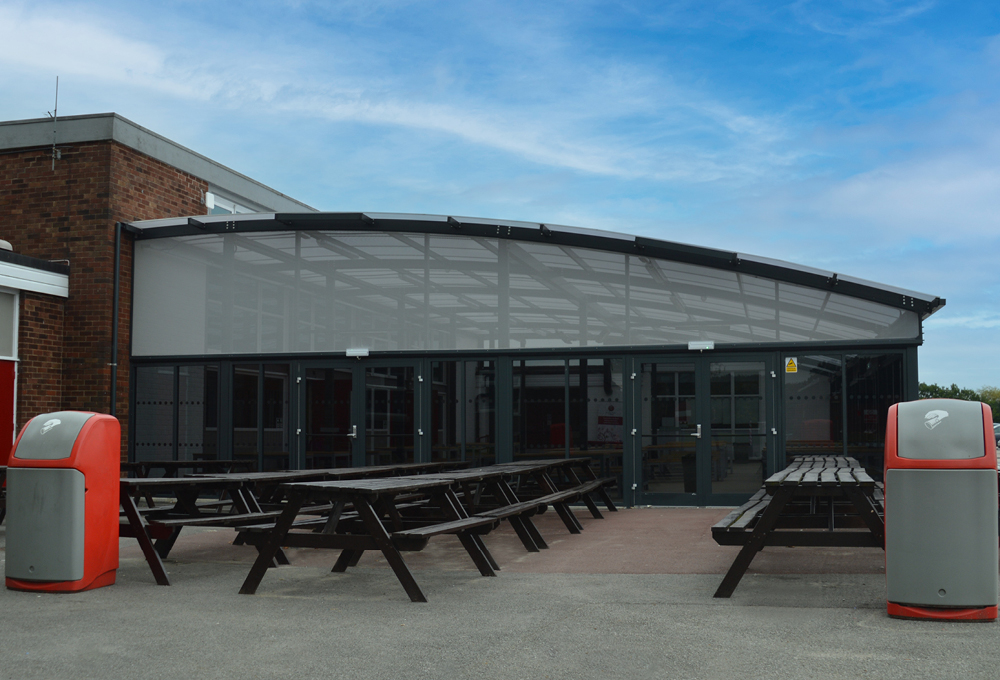 Polycarbonate roof enclosed canopy